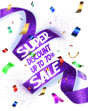 grand sale icon: Super sale vector illustration with cut textured ribbon and flying confetti