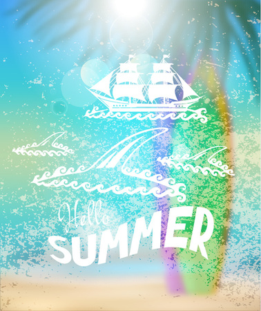 Summer blurred background with beach, surfboards, silhouettes of palm tree. Vector illustration