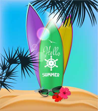 Summer composition with palm trees and surfboards on the beach