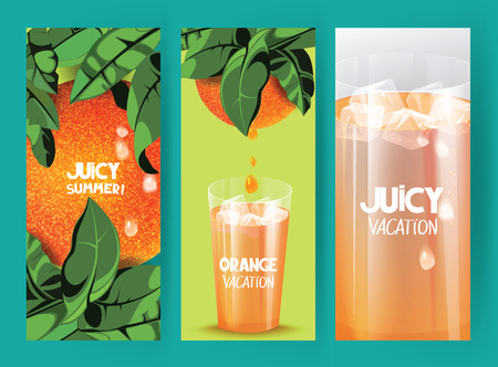 citrus tree: Bright banners with oranges on the tree with green leaves and glass of orange juice Illustration