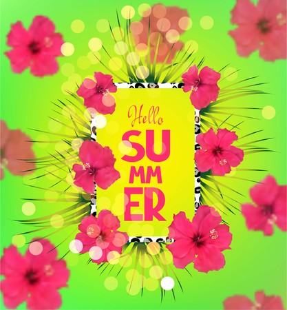 palm wreath: Bright summer background with pink flowers. Vector illustration Illustration
