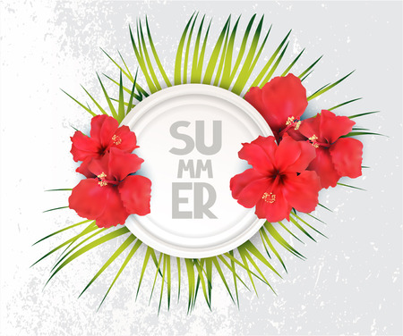 Elegant background with grass and red flowers