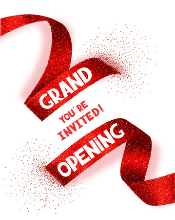 opening party: Grand Opening card with abstract red ribbon