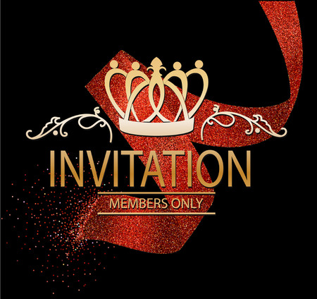 Invitation card with red abstract ribbon