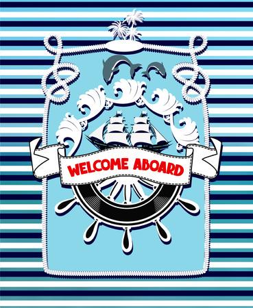 Marine blue vintage banner with sea design elements. Vector illustration 일러스트