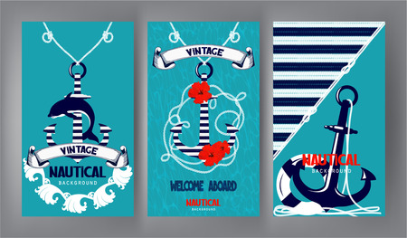 Nautical banners with marine design elements. Flat design. Vector illustration