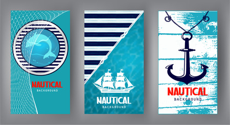 Nautical banners with marine design textures and elements. Vector illustration Stock Illustratie