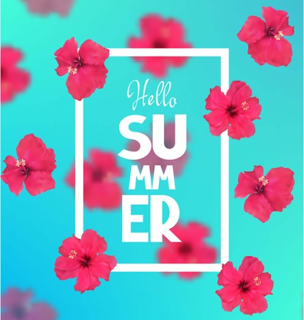 Bright background with pink flowers. Vector illustration