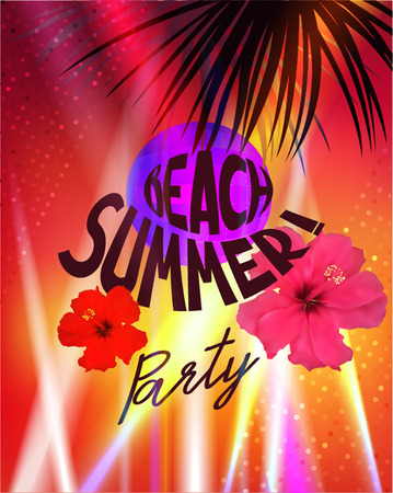 Beach summer party poster with spotlight beams and palm tree silhouettes. Vector illustration.