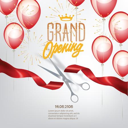 inauguracion: bandera de gran apertura con globos cinta cortada y aire rizados. ilustración vectorial