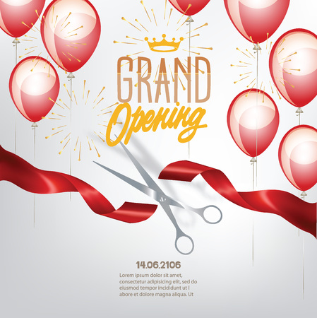 Grand opening banner with curled cut ribbon and air balloons. Vector illustration