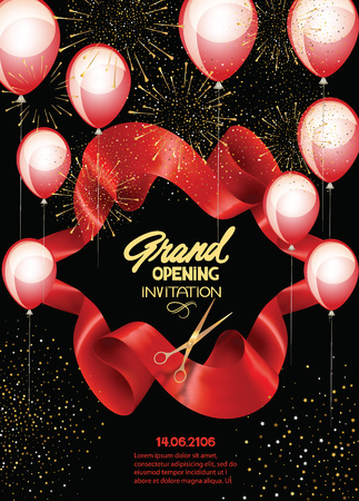 Grand opening banner with curled cut ribbon, fireworks and air balloons. Vector illustration