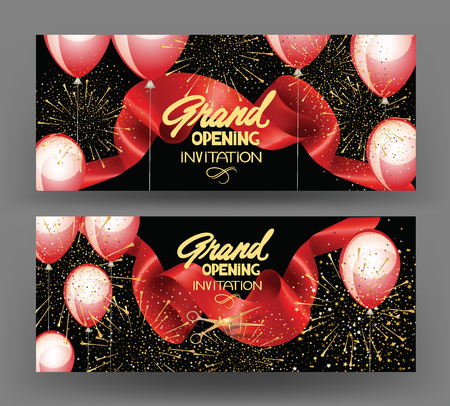 Grand opening banners with curled cut ribbon, fireworks and air balloons. Vector illustration Illusztráció