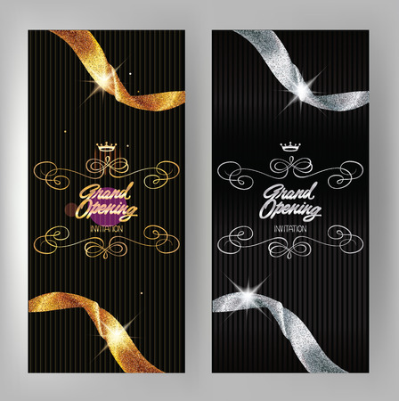 Grand opening banners with gold and silver sparkling ribbons. Vector illustration