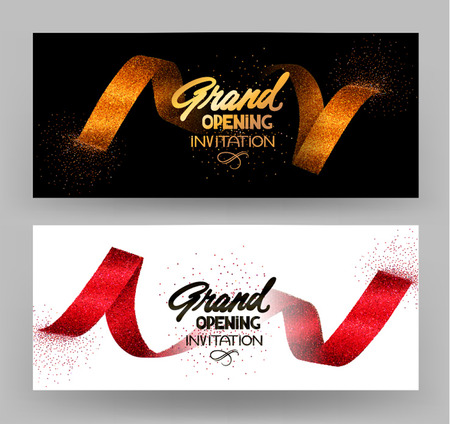 Grand opening banners with gold sparkling ribbons. Vector illustration Imagens - 60681936