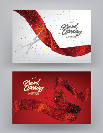 Grand opening banners with red sparkling ribbons. Vector illustration
