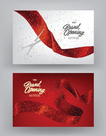 Feestelijke opening spandoeken met rode sprankelende linten. vector illustratie