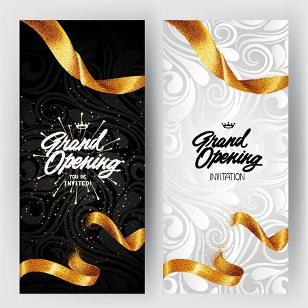 ゴールドのキラキラ リボンと花の背景とグランド オープン カード  イラスト・ベクター素材