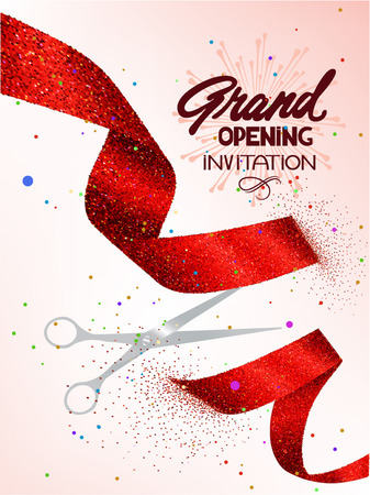 Grand Opening Karte mit funkelnden roten Band Standard-Bild - 60681957