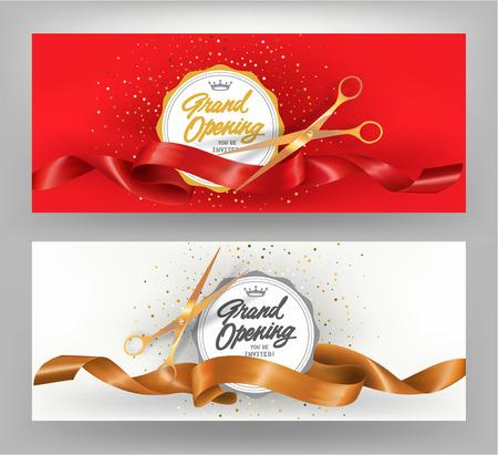 Feierliche Eröffnung elegante Banner mit goldenen und roten krause Bänder. Vektor-Illustration Standard-Bild - 60681962