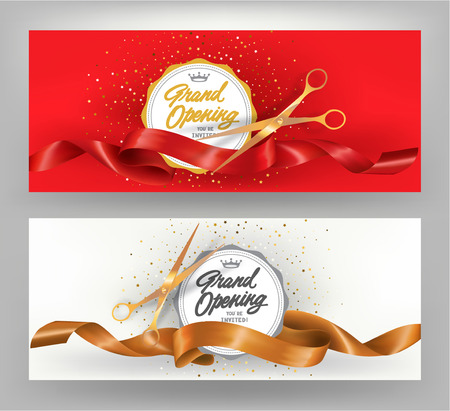 Grand opening elegant banners with gold and red curled ribbons. Vector illustration 向量圖像