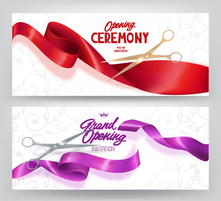 Grand opening elegant banners with silk curled ribbons and scissors. Vector illustration