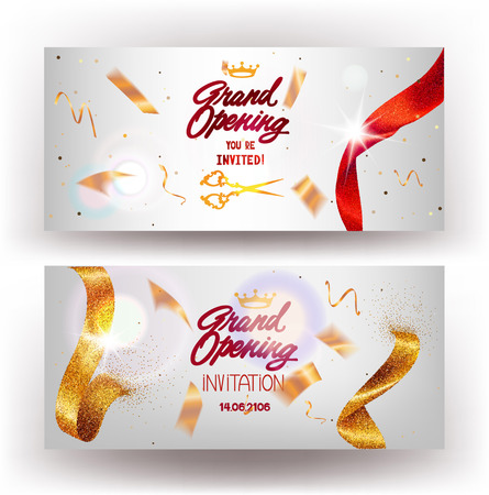 Grand Opening horizontal banners with sparkling gold and red ribbons. Vector illustration