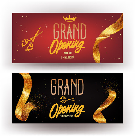 Grand Opening horizontal banners with sparkling gold ribbons. Vector illustration