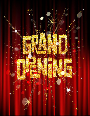 GRAND OPENING INVITATION BANNER WITH THEATER CURTAINS AND FIREWORKS