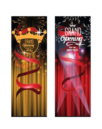 GRAND OPENING INVITATION BANNERS WITH THEATER CURTAINS AND FIREWORKS