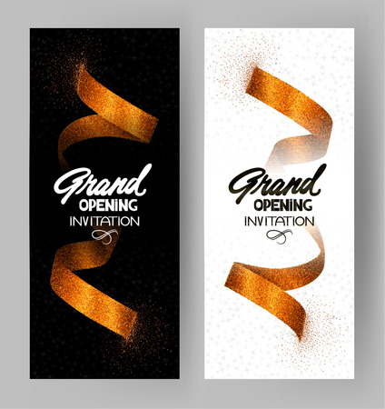 Grand opening textured banners with gold sparkling ribbons. Vector illustration
