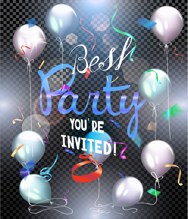 flyer background: Party background. Colorful shiny flying confetti. Vector illustration