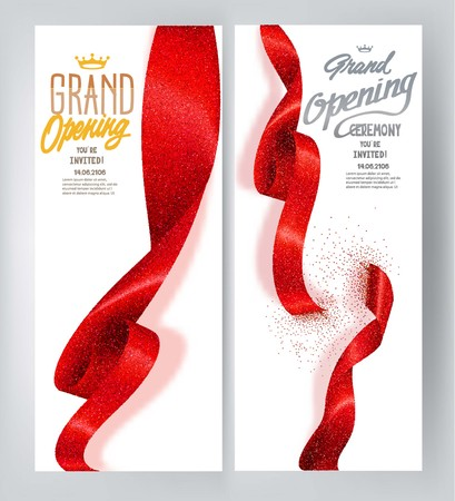Red elegant Grand opening banners with curled sparkling ribbons. Vector illustration