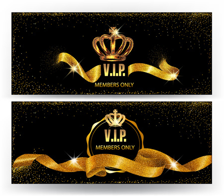 Set of elegant VIP cards with gold sparkling ribbons and crowns Vectores