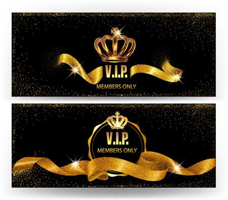 Set van elegante VIP-kaarten met goud sprankelende linten en kronen