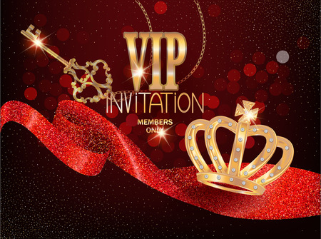 VIP card with red sparkling ribbon, gold key and gold crown. Vector illustration