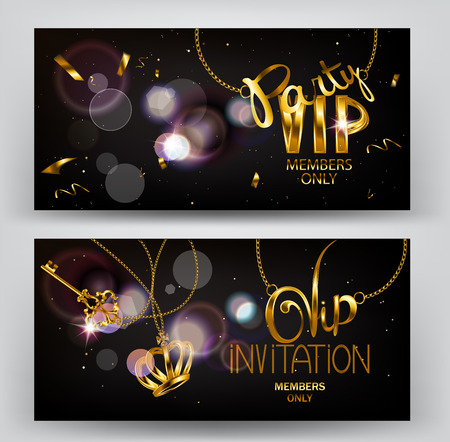 sparkling: VIP horizontal cards with gold sparkling key and crown