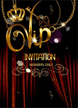 BANDERA INVITACIÓN VIP con las cortinas del teatro y colgantes ORO