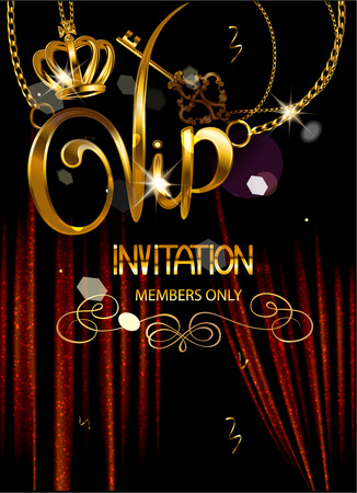 VIP INVITATION BANNER WITH THEATER CURTAINS AND GOLD PENDANTS