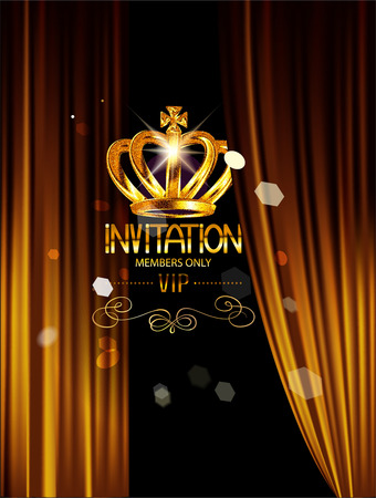 VIP INVITATION BANNER WITH THEATER CURTAINS Vettoriali