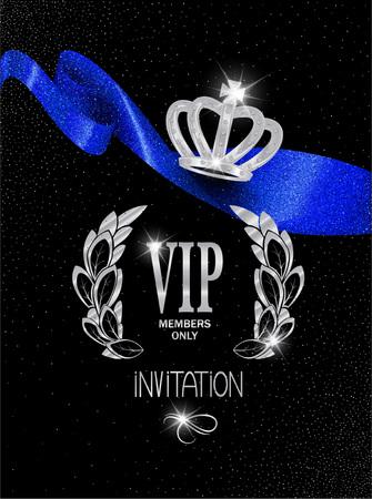 platinum: VIP invitation card with blue sparkling ribbon and platinum crown. Vector illustration