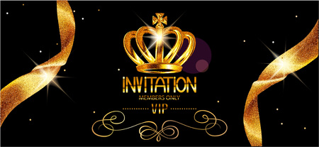Vip invitation gold card with sparkling ribbons and crown. Vector illustration