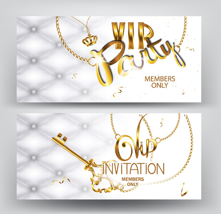 VIP party vintage invitation cards with leather texture