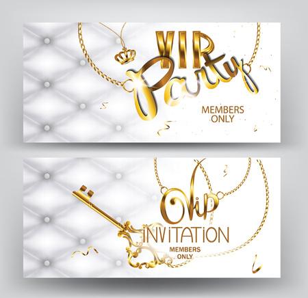 VIP party vintage uitnodigingskaarten met leder textuur