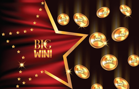 Big win banner with falling coins and star shaped frame and red fabric. Vector illustration Stock Illustratie