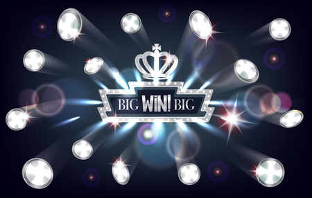Big win banner with falling silver coins and retro frame. Vector illustration