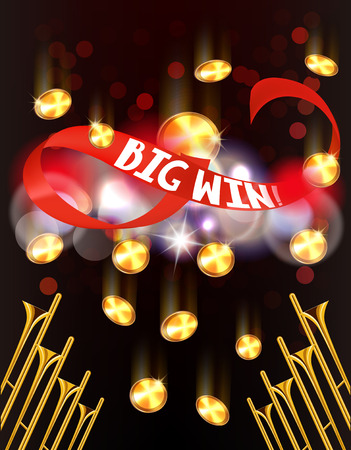 BIG WIN BANNER WITH RED RIBBON AND FALLING COINS. VECTOR ILLUSTRATION