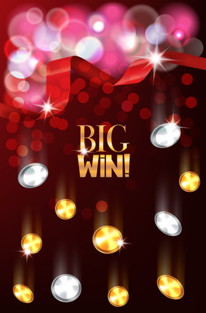silver silk: Big win banner with red silk ribbon and falling gold and silver coins. Vector illustration Illustration