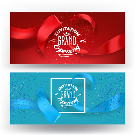 ceremony: Elegant banners for grand opening ceremony with silk ribbons. Vector illustration