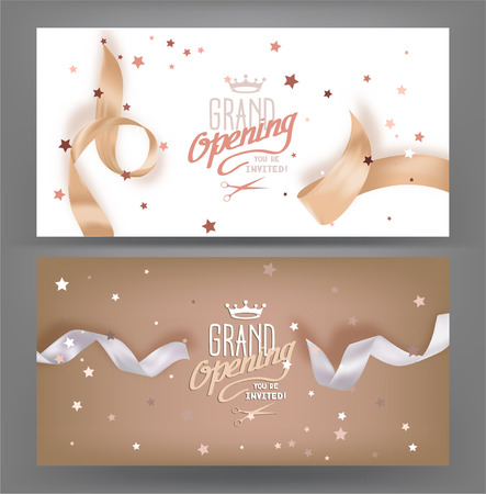 inauguracion: pancartas de gran apertura con cintas en tonos pastel de seda. ilustración vectorial